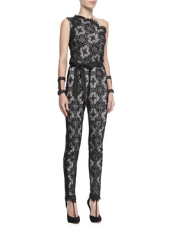 Alexis Blanchett Lace One-Shoulder Jumpsuit