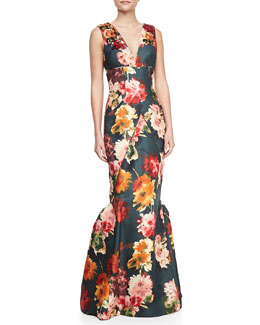 J. Mendel Sleeveless Beaded Floral-Print Silk Gown