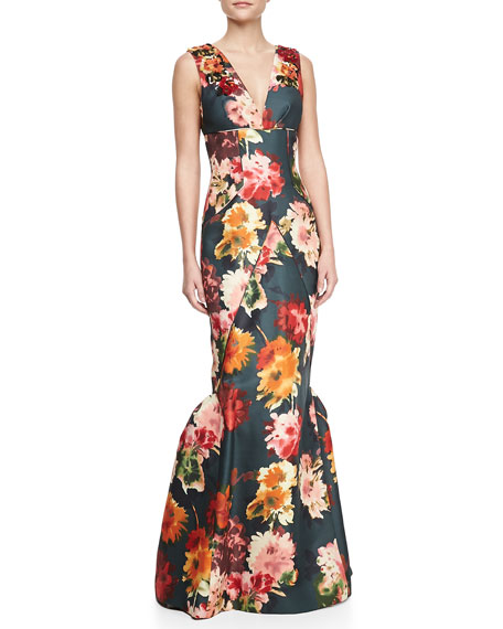 Sleeveless Beaded Floral-Print Silk Gown
