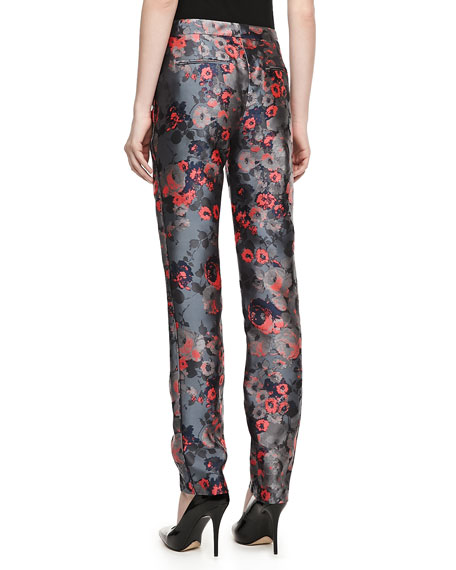 Narrow Floral Jacquard Pants
