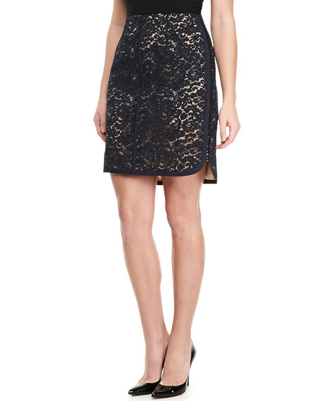 Lace Slash-Pockets Skirt, Navy