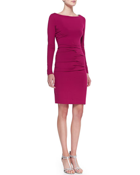 Long-Sleeve Boat-Neck Ruched Jersey Dress