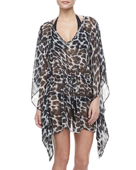 Leopard-Print Chiffon Caftan Coverup