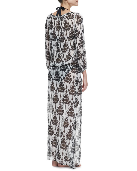 Romantic Long-Sleeve Printed Caftan Coverup