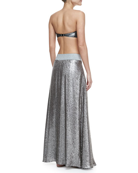 Shimmery A-Line Maxi Coverup Skirt