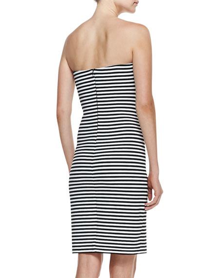 Strapless Striped Sheath Dress, Black/White