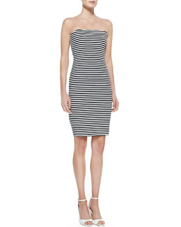 Nicole Miller Strapless Striped Sheath Dress, Black/White