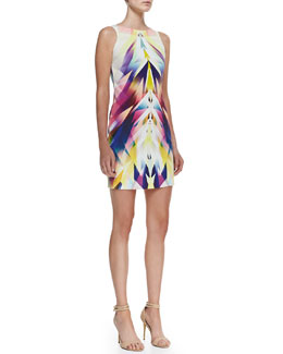 Nicole Miller Sleeveless Bateau-Neck Geo-Print Dress, Multicolor