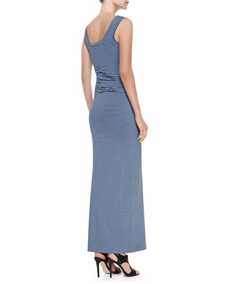 Sleeveless Striped Maxi Dress, Black/Blue