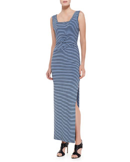 Nicole Miller Sleeveless Striped Maxi Dress, Black/Blue