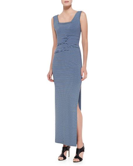 Sleeveless Striped Maxi Dress, Black/Blue