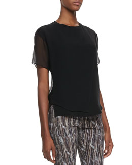 Theyskens' Theory Baim Georgette Short-Sleeve Top