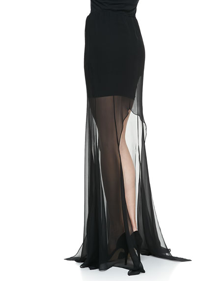 Fimothy Sheer-Bottom Slit Skirt