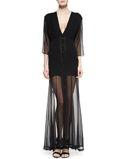 Theyskens' Theory Dekka Solid/Sheer Long Dress