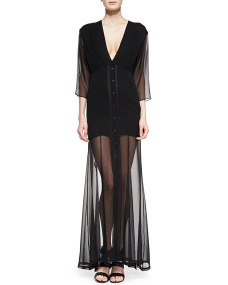 Dekka Solid/Sheer Long Dress