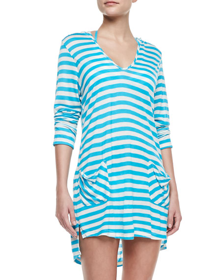 Cabana-Stripe Hooded Coverup