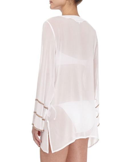 Belle Floral-Embroidered Sheer Coverup Tunic