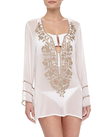 Ella moss swim belle floral embroidered sheer coverup tunic
