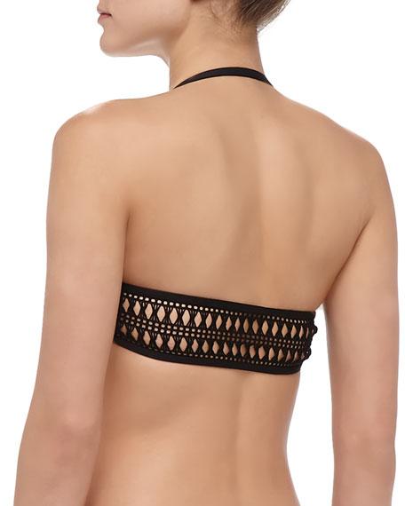 Cabana-Stripe Ruffle Bra-Style Bikini Top, Black/White