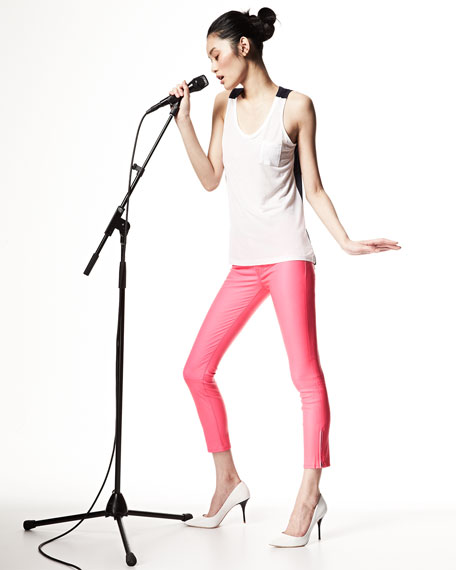 Mid-Rise Leather Capri Pants