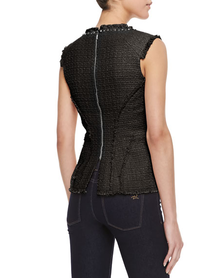 Tweed Studded-Neck Peplum Top, Black