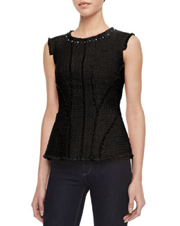 Rebecca Taylor Tweed Studded-Neck Peplum Top, Black