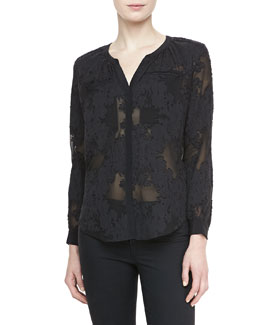 Rebecca Taylor Long-Sleeve Floral Blouse