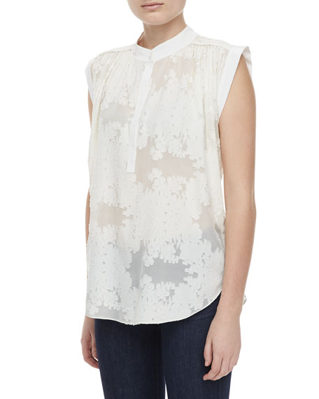 Sleeveless Floral-Burnout Blouse
