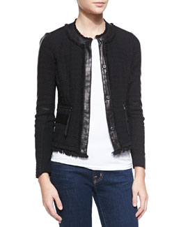 Rebecca Taylor Tweed Lambskin Leather-Trim Blazer