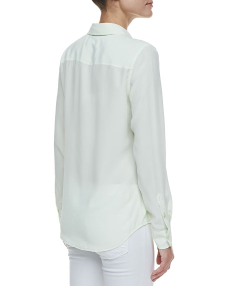Brett Button-Up Blouse, Mint Green
