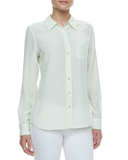 Equipment Brett Button-Up Blouse, Mint Green