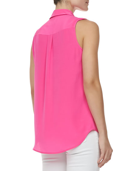 Signature Sleeveless Slim Top, Magenta