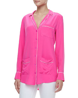 Equipment Gavin Contrast Piping Long-Sleeve Shirt, Magenta