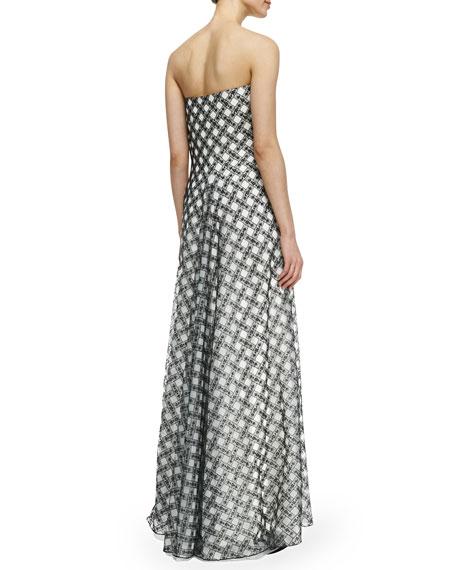 Strapless Plaid Ball Gown, Black/White