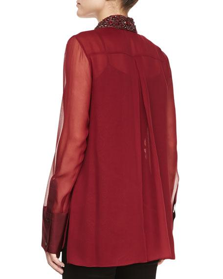 Long-Sleeve Embellished-Collar Blouse, Merlot