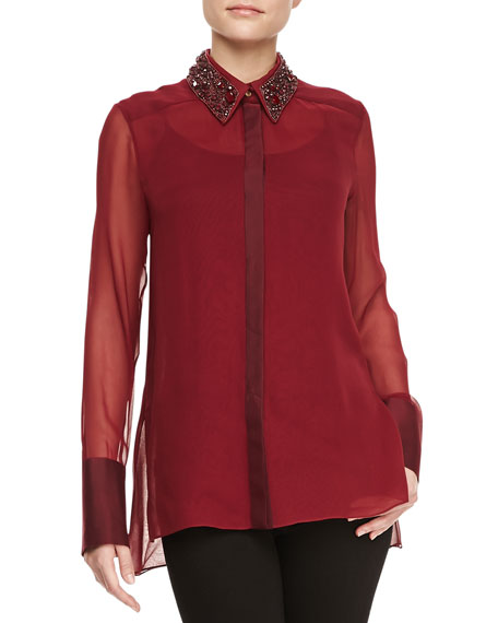 Long-Sleeve Embellished-Collar Blouse, Merlot