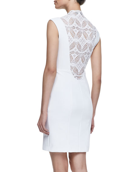 Crocheted Lace-Back Cocktail Dress, Blanc