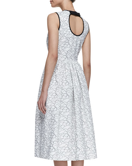 rena sleeveless bow-back dress, cream/black