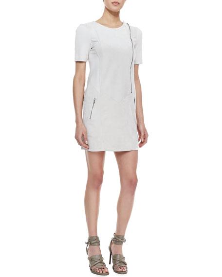 Heather Suede/Ponte Zipper Dress