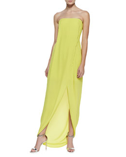 BCBGMAXAZRIA Jesse Strapless Draped Wrap Gown