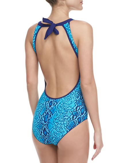 Snake-Print Maillot One-Piece Swimsuit, Viper