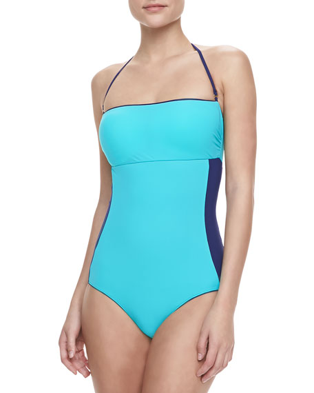 Bandeau-Neck One-Piece Swimsuit, So Solid Navy
