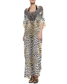 Camilla Scoop-Neck Caftan Coverup Dress, Jaguar