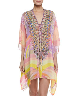 Camilla Short Lace-Up Caftan Coverup, Savannah