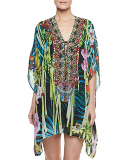 Camilla Short Lace-Up Caftan Coverup, Wonderland