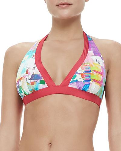 Shan Les Pivoines Triangle Bra Halter Bikini Top