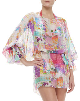 Shan Les Pivoines Scoop-Neck Long-Sleeve Coverup