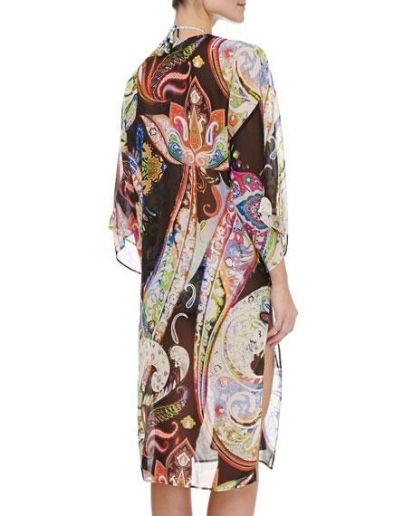 Silk Paisley-Print Bell-Sleeve Caftan
