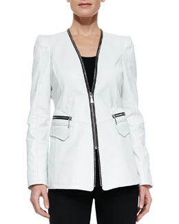 Dawn Levy Tori Lambskin Zipper Jacket