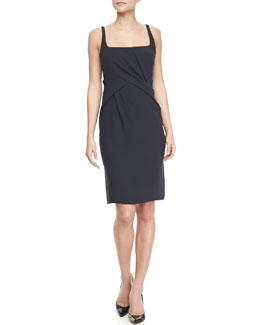 J. Mendel Scoop-Neck Sleeveless Dress, Navy
